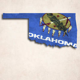 World Art Prints And Designs - Oklahoma Map Art with Flag Design