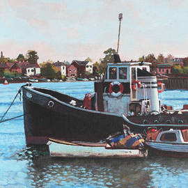 Martin Davey - Old boats moored at St Denys Southampton
