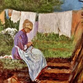Cristina Mihailescu - Old woman darning after Nicolae Grigorescu-romanian painter