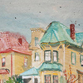 Asha Carolyn Young - Old Oakland Houses on a Foggy Day
