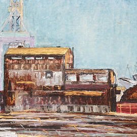 Asha Carolyn Young - Old Rustic Schnitzer Steel Building with Crane and Ship