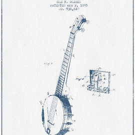 Aged Pixel - Olesen Banjo Patent Drawing From 1895 - Blue Ink