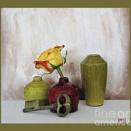 Marsha Heiken - Olive Green Vases Key and Yellow Rose