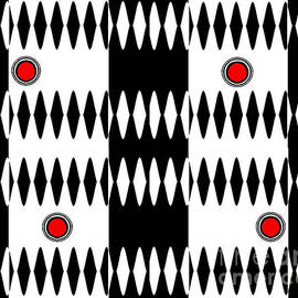 Drinka Mercep - Op Art Black White Red Geometric Pattern Print No.238.