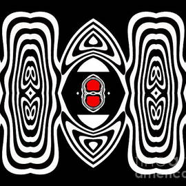 Drinka Mercep - Op Art Black White Red No.132.