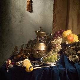 Levin Rodriguez - Opulent Still Life with Gilded Jug-silverware and fruits