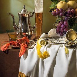 Levin Rodriguez - Opulent Still Life with Pala Glass-Grapes-Oysters and Lobster