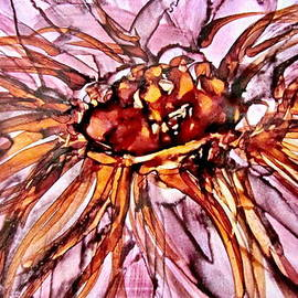Danielle  Parent - Orange And Pink Dahlia Alcohol Inks
