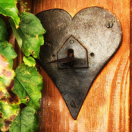 Nomad Art And  Design - Orange Door with Heart Shaped Latch
