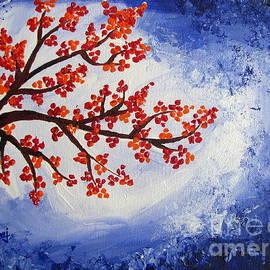 Prajakta P - Orange flowers with Blue sky Acrylic painting
