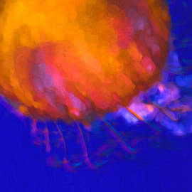 Priya Ghose - Orange Jellyfish Ocean Art