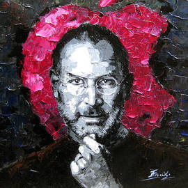 Enxu Zhou - original palette knife painting Steve Jobs