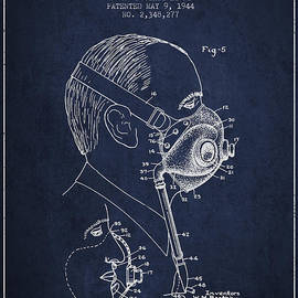 Aged Pixel - Oxygen Mask Patent from 1944 - Three - Navy Blue