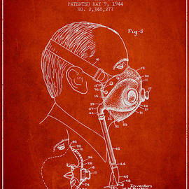 Aged Pixel - Oxygen Mask Patent from 1944 - Three - Red