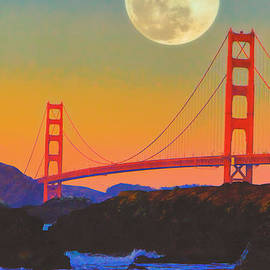Douglas MooreZart - Pacific Sunset - Golden Gate Bridge and Moonrise