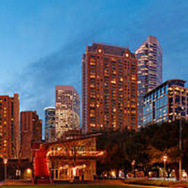 Silvio Ligutti - Panorama of Discovery Green Park at Dawn - Downtown Houston Texas