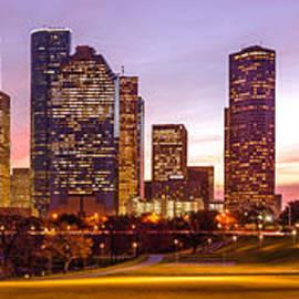 Silvio Ligutti - Panorama of Downtown Houston at Dawn from Eleanor Tinsley Park - Houston Texas Harris County