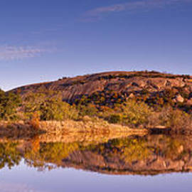 Silvio Ligutti - Panorama of Enchanted Rock in The Fall from Moss Lake - Fredericksburg Texas Hill Country