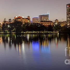 Silvio Ligutti - Panorama of McGovern Lake and Texas Medical Center at Twilight- Hermann Park Houston Texas