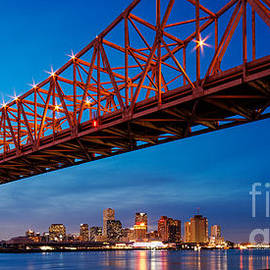 Silvio Ligutti - Panorama of New Orleans and Crescent City Connection from Gretna at Dusk - Louisiana