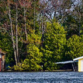 Les Palenik - Panorama with two boathouses