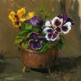 Linda Dunbar - Pansies in Copper Pot