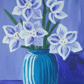 Iamthebetty   - Paper Whites in a Blue Vase
