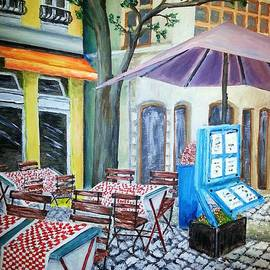 Irving Starr - Paris Cafe With Purple Umbrella