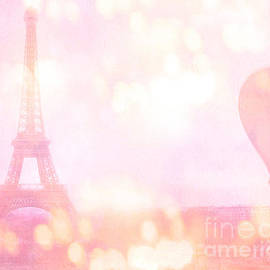 Kathy Fornal - Paris Shabby Chic Romantic Dreamy Pink Eiffel Tower and Hot Air Balloon