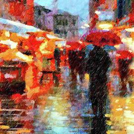 Georgiana Romanovna - Parisian Rain Walk Abstract Realism