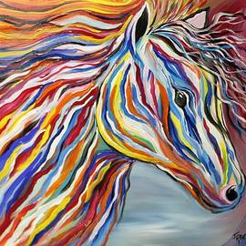 Janice Rae Pariza - PASSION Bold and Colorful Horse Head