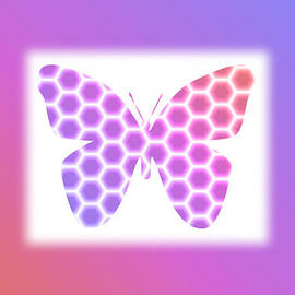 Shelley Neff - Peach Pink Purple Butterfly in Hexagonal Pattern