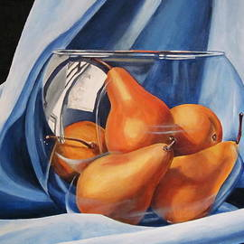 Lillian  Bell - Pears in glass bowl