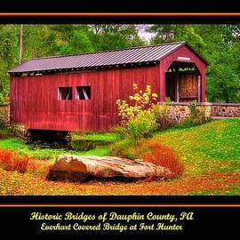 Michael Mazaika - Pennsylvania Country Roads - Everhart Covered Bridge at Fort Hunter - Dauphin County Poster No. 1