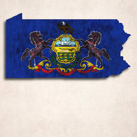 World Art Prints And Designs - Pennsylvania Map Art with Flag Design