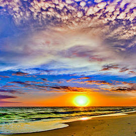 Eszra Tanner - Pensacola Beach-Saturated Landscape-Colorful Sky-Puffy White Clouds