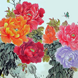Yufeng Wang - Peonies and Birds