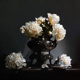 Larry Preston - PEONIES WITH SILVER COFFEE POT