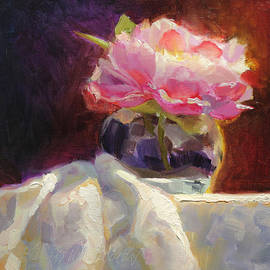 Karen Whitworth - Peony Glow - Square Still Life
