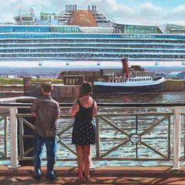 Martin Davey - People at Southampton Eastern Docks viewing ship