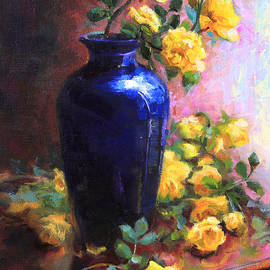 Talya Johnson - Persian Cobalt - yellow roses in cobalt vase