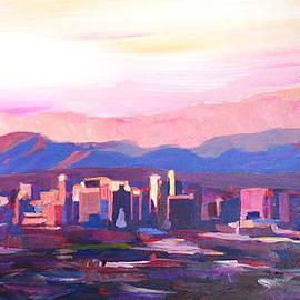 M Bleichner - Phoenix Arizona Skyline at Dusk with Phoenix Mountains