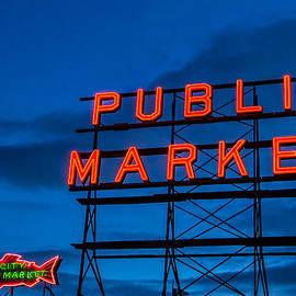Steven Bateson - Pike Place Market Sign Seattle Washington