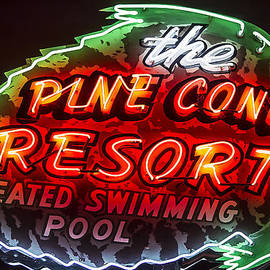 John Wayland - Pine Cone Resort Vintage Neon Sign in Zephyr Cove Nevada