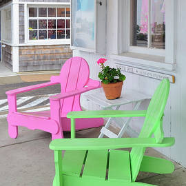 Marianne Campolongo - Pink and Green Chairs Watch Hill Rhode Island