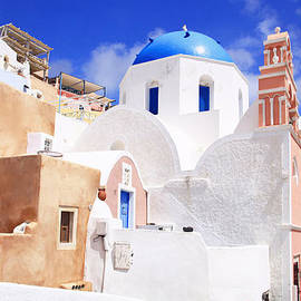 Aiolos Greek Collections - Pink bell tower and blue dome church