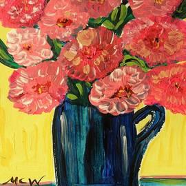 Mary Carol Williams - Pink Peonies in Deep Blue by Mary Carol