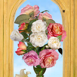 Levin Rodriguez - Pink Roses and White Peonis in Roemer in Open Niche