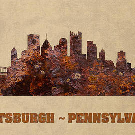 Design Turnpike - Pittsburgh City Skyline Rusty Metal Shape on Canvas