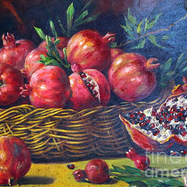 Persian Art - Pomegranate Fruit In Basket Realism